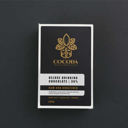 Cocoda Deluxe Drinking Chocolate retail box product shot