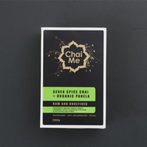 Chai Me Seven Spice Chai + Organic Panela retail box product shot